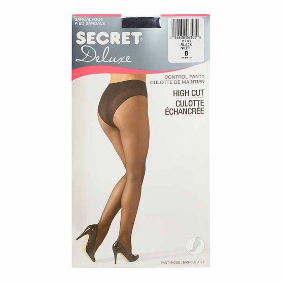 Secret Deluxe High Cut Lace Control Top Panty Hose - B - Black