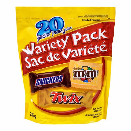 Snickers/Twix/M&M Variety Candy Pack Funsize - 235g