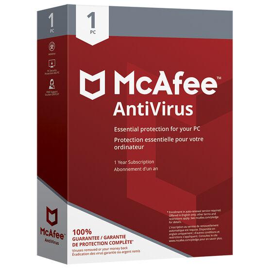 McAfee AntiVirus 2018 - One PC - One Year