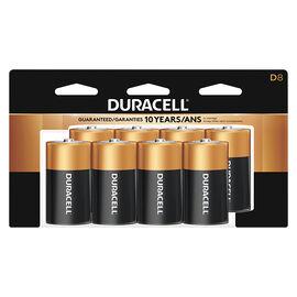 Duracell CopperTop D Alkaline Batteries - 8 pack