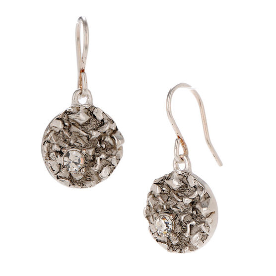 Kenneth Cole Textured Disc Drop Earrings - Silver Tone