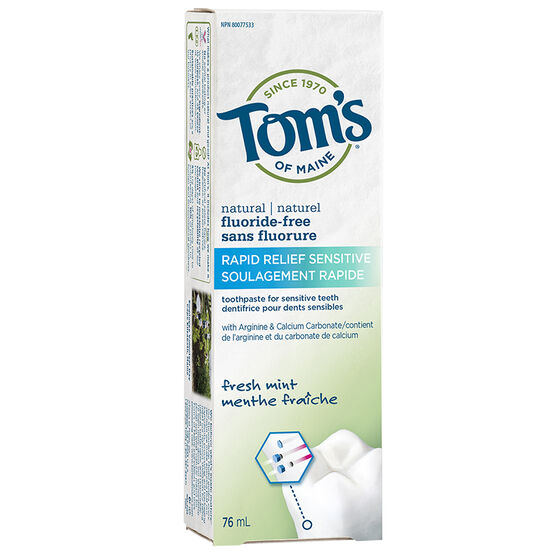 Tom's Fluoride-Free Rapid Relief Sensitive Toothpaste - Fresh Mint - 76ml