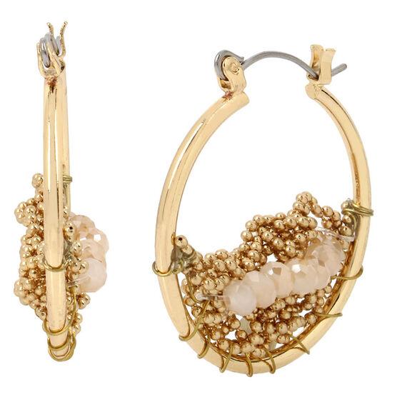 Haskell Beaded Hoop Earrings - Gold