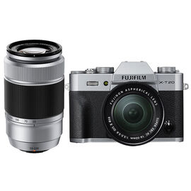 Fuji X-T20 with XC 16-50mm and XC 50-230mm Lens - Silver/Silver - PKG #56008