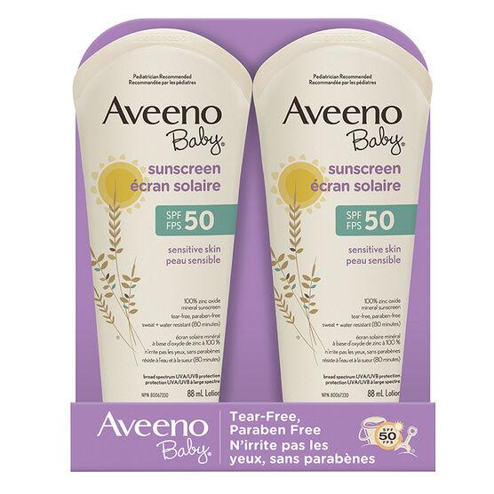 Aveeno Baby Sensitive Sunscreen - SPF 50 - 2 x 88ml