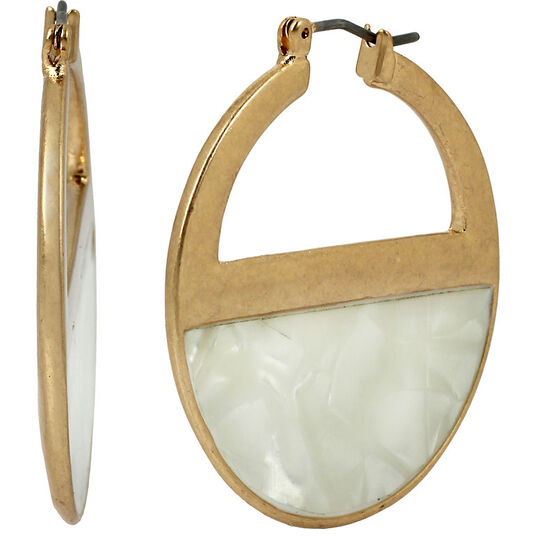Kenneth Cole Half Circle Hoop Earrings - White/Gold