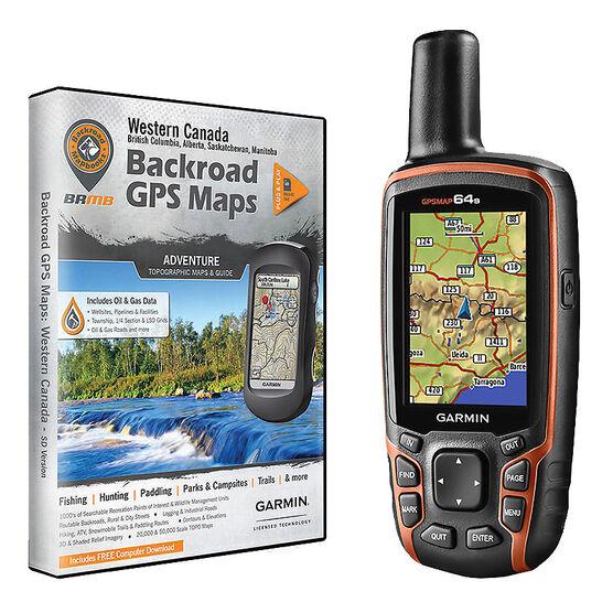 Garmin GPSMAP 64s with Backroad GPS Maps of Western Canada - PKG #56400