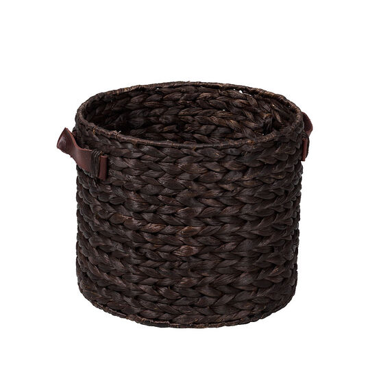 London Drugs Water Hyacinth Basket with Faux Leather Handles - Dark Brown - Medium