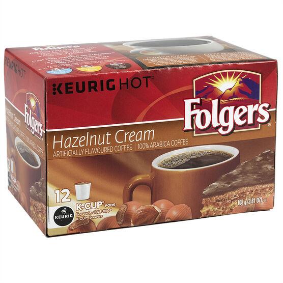 K-Cup Folgers Coffee - Hazelnut Cream - 12 Servings