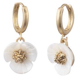Lonna & Lilly Flower Hoop Earrings - Gold Tone
