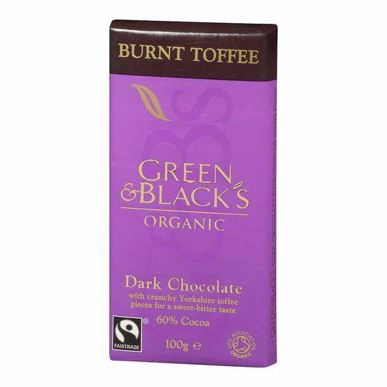 Green & Blacks Organic Chocolate - Dark Chocolate with Yorkshire Toffee Pieces - 100g