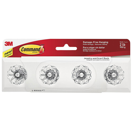 Command Jewelry or Scarf Rack - Crystal - 4 pack