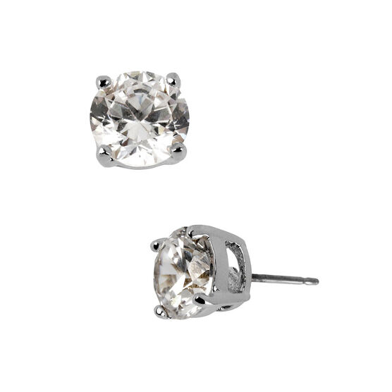 Kenneth Cole Small Crystal Stud Earrings - Silver Tone