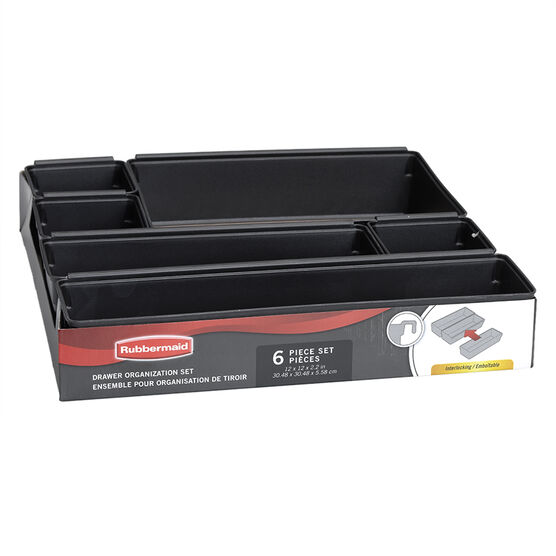 Rubbermaid No Slip Drawer Organizer - 6 piece