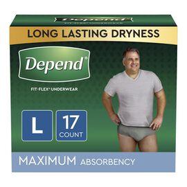 Depend Fit-Flex Underwear for Men Maximum Absorbency - Large - 17's