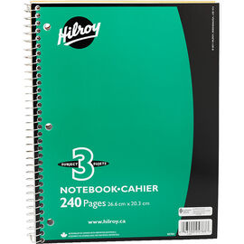 Hilroy Three Subject Notebook - 10.5 x 8 - 240 page