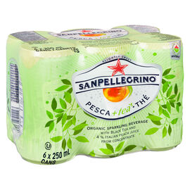 San Pellegrino Organic Sparkling Beverage - Peach and Black Tea - 6x250ml