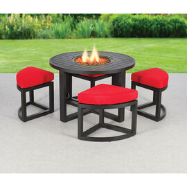 Carmine Fire Table with Seating - 5 piece