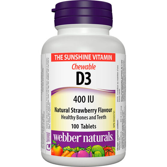 Webber Naturals Vitamin D3 - Chewable Strawberry - 100's