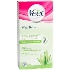 Veet Wax Strips with Easy-Gelwax Technology - Dry Skin - 20's