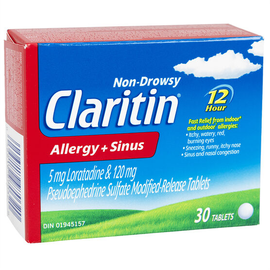 Claritin Allergy & Sinus - 12 hours - Non-Drowsy - 30's