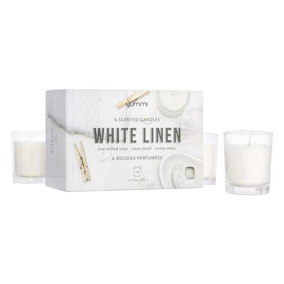Yummi Votive Candle - White Linen - 6 pack