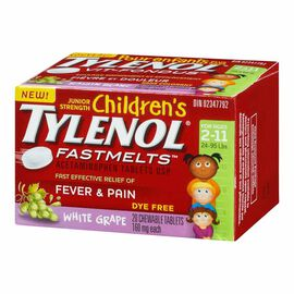 Tylenol* Children's Junior Strength Fastmelts - White Grape - Dye Free - 20's