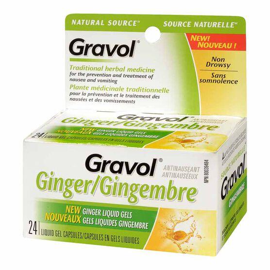 Gravol Natural Source Ginger Liquid Gels - 24's