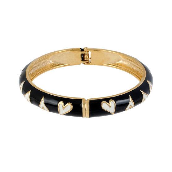Betsey Johnson Heart Bangle Bracelet - Black & White