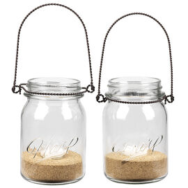 Sarah Peyton Hanging Mason Jar with Candle Holder