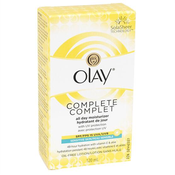 Olay Complete All Day UV Moisturizer Lotion - Sensitive Skin - Fragrance Free - 120ml