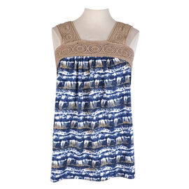 Lava Printed Crochet Tank - Denim Blue