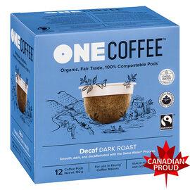 One Coffee Organic Single Serve Pods - Dark Roast Decaf - 12's