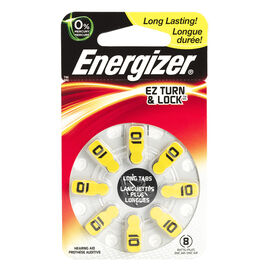 Energizer Lock & Turn Hearing Aid Batteries - AZ10DP-8 - 8 pack