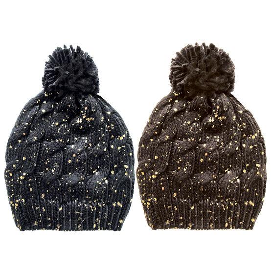 Point Zero Ladies Knit Hat with Pom Pom - Assorted