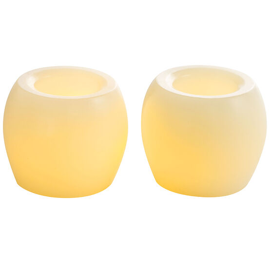 Mini Wax 2inch Flameless Hurricane Candles - Unscented - Cream - 2 pack