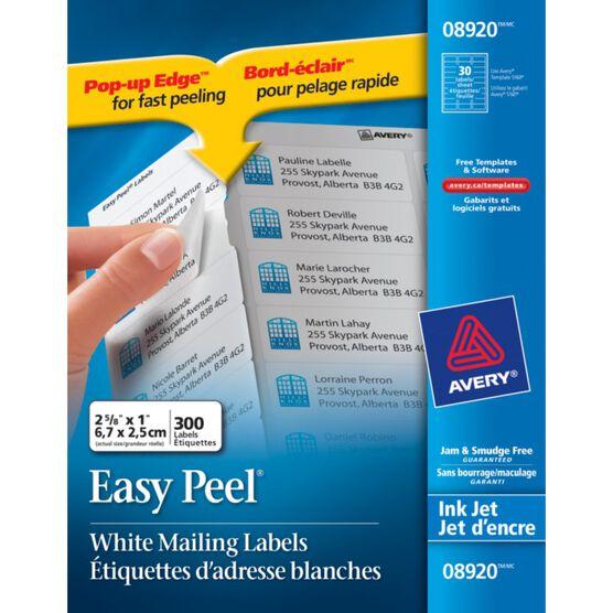 """Avery® Easy Peel™ White Address Labels for Inkjet Printers - 1"""" x 2-5/8"""" - Pack of 300"""