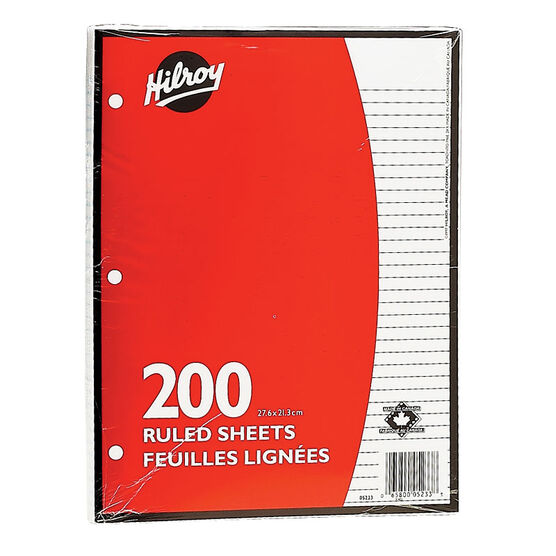 Hilroy Looseleaf Ruled Refill Paper - 200 sheets