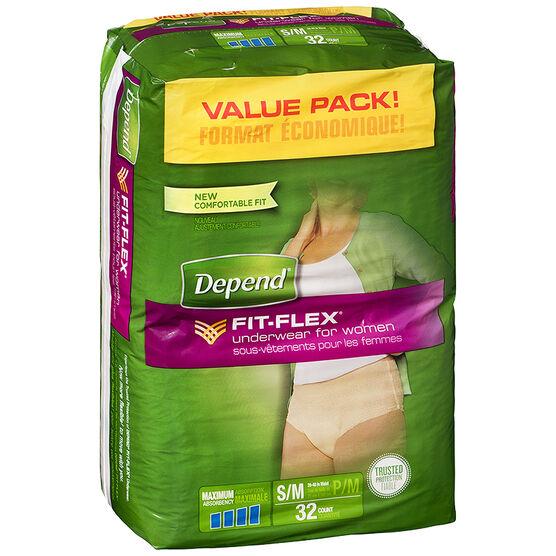 Depend Fit-Flex Underwear for Women - Maximum Absorbency - Small/Medium - 32's