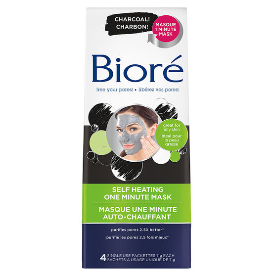 Biore Self Heating One Minute Mask with Charcoal-4x7g