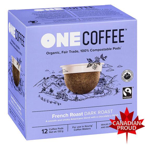 One Coffee Organic Single Serve Coffee Pods - French Roast - 12's