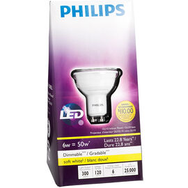 Philips GU10 LED Dimmable Light Bulb - Soft White - 6 Watts