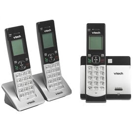 Vtech 3 Handset Cordless Phone - Black/Silver - Factory Reconditioned - CS51193RB