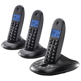 Motorola 3 Handset Cordless Phone with Answering Machine - Black - C1013LX