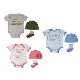 Baby Mode 3-Piece Bodysuit Set - 0-9 months - Assorted