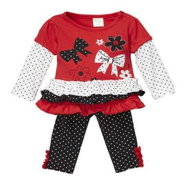 Baby Mode Bow and Flower Jersey Legging Set - 12-24 months - Assorted