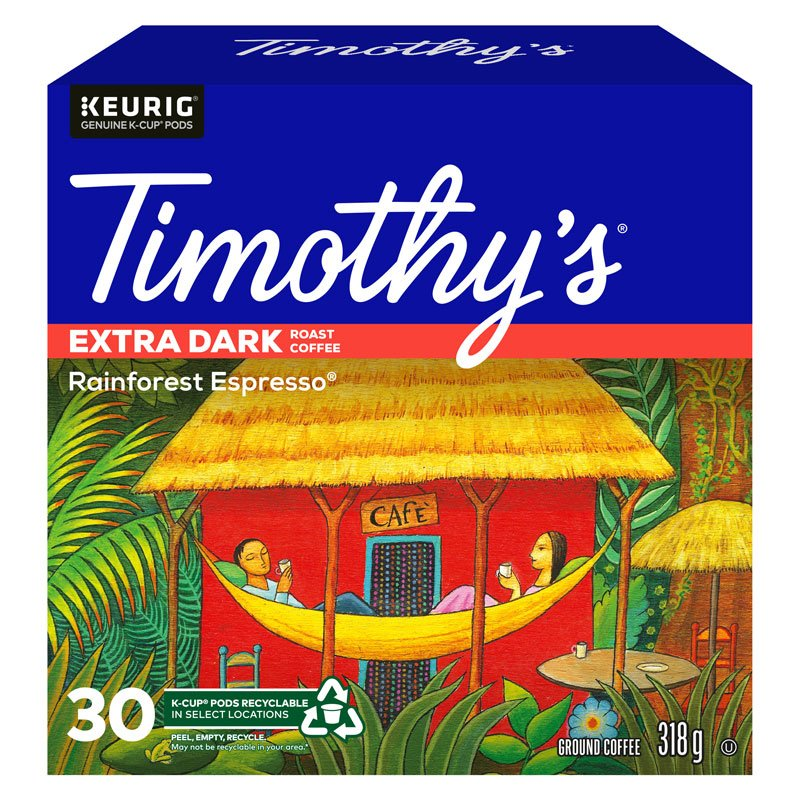 K-Cup Timothys Coffee - Rainforest Espresso- 30 Pack