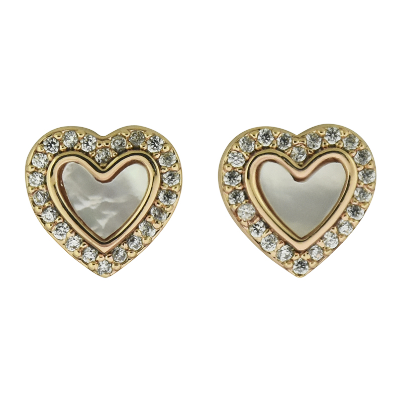 Puccini Cubic Zirconia Heart Stud Earrings - Rose Gold