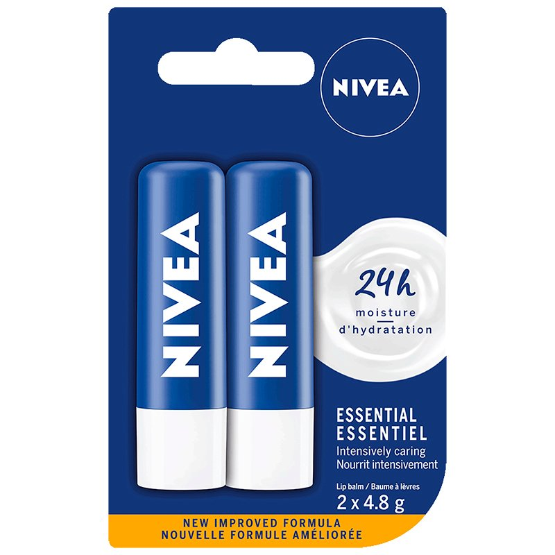 Nivea Essential Duo Pack Lip Care - 2x4.8g