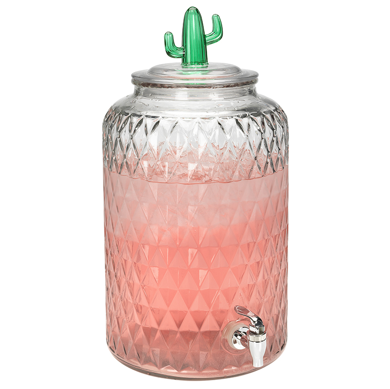 London Drugs Glass Beverage Dispenser - Cactus Lid - 11L